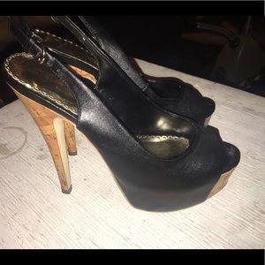 Bebe leather cork heels. Size 7.